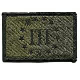 "2""x3"" Emblem Three Percenter Tactical - Olive Drab"