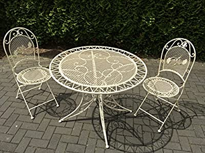 Garden Furniture Seating Area Set 2 Chairs 1 Metre Balcony Table Set Metal Shabby