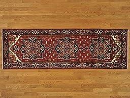 3\'x8\' Runner Rust Red Serapi Heriz Oriental Rug Hand Knotted Tribal Design G20967