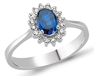 0.73 Carats 18k Solid White Gold Blue Sapphire and Diamond Engagement Wedding Bridal Promise Ring Band