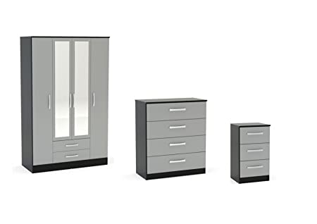 Birlea Lynx High Gloss 3 Piece Set - 4 Door Combi Wardrobe, Chest Drawers and Bedside - Various Colours Available (4 Drawer Chest, Grey / Black)