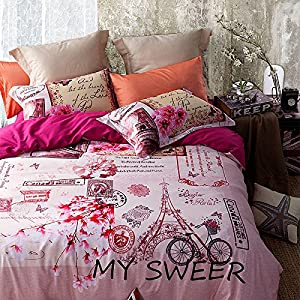 Homehug® Luxury 300 Thread-count 100% Cotton Warming Pink Flowers Pattern Duvet Cover Sets with Pillow Shams Full Queen Size - 1 Year 100% Satisfaction Guarantee (Queen Size, Dark Pink)