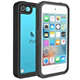 iPod Touch Case 6th/5th Generation, iPod Touch 6th/5th Generation Case for Girls Kids Boys, Bosmix iPod Touch 6/5 Waterproof Case, Waterproof Case for iPod Touch 6th/5th Generation with Kickstand (Color: Black)