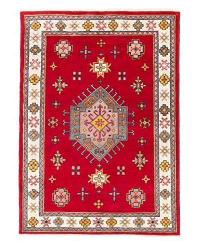 eCarpet Gallery One-of-a-Kind Hand-Knotted Royal Kazak Rug, Cream/Red, 5' 9 x 7' 10