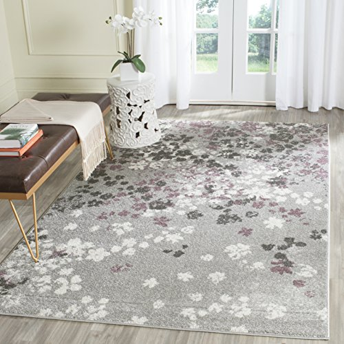 Safavieh Adirondack Collection ADR115M Light Grey and Purple Contemporary Floral Area Rug (3 x 5)