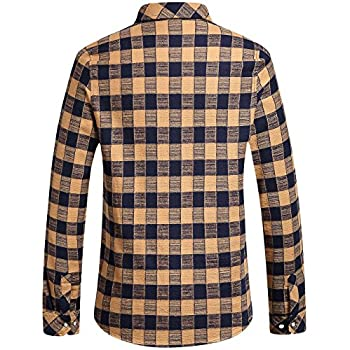 SSLR Men's Gingham Flannel Vintage Long Sleeve Shirt