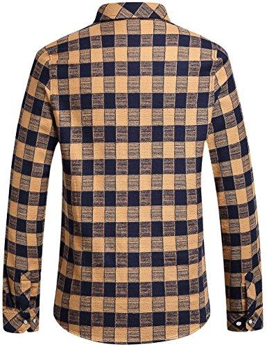 SSLR Men's Gingham Flannel Vintage Long Sleeve Shirt 1