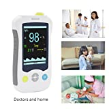 Handheld Children Pulse Oximeter Blood Oxygen Saturation Sensor Health Monitor with Body Temperature Function Yonker YK-820B - Child(Lithium Battery) (Color: White, Tamaño: Child)