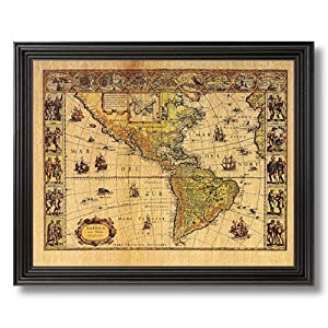 Solid Wood Black Framed Old World Map Vintage Style Photo Wall D