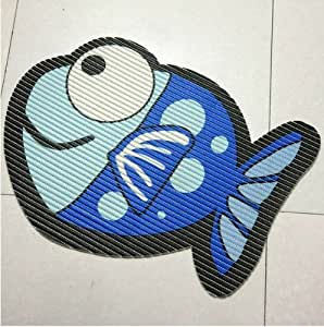 Speaking life fish shaped foam bath mat for Fish bath rug
