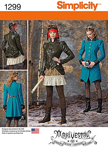 Simplicity ArkiVestry Pattern 1299 Misses Costume Coat, Jacket, Bustle and Ruffled Skirt in 2 Lengths Size 6-8-10-12