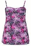 Plus Size Womens Black And Multi Palm Tree Print Swimdress With Tummy Control