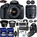 Canon EOS Rebel T5 DSLR Camera with 18-55mm IS Lens + Kit Includes, 0.43x Wide Angle Lens + 2.2x Telephoto Lens + 2Pcs 32GB Commander Card + Battery Grip + Extra Battery + Backpack Case + Cleaning Kit