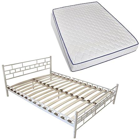 vidaXL 140x200 cm Bett Metallbett Bettgestell Schlafzimmerbett + Matratze weiß