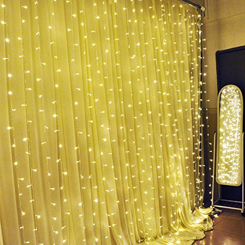 Ucharge Curtain Light 304led 9.8ft*9.8ft Christmas Festival Curtain String Fairy Wedding Led Lights for Wedding, Party, Window, Home Decorative -  (Warm White)