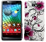 Cellmax Motorola Razr I XT890 Hard Shell Back Protection Case Cover With Purple Flower Blossom Pattern Skin Clip On Protection