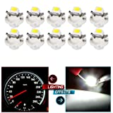 cciyu 10 Pack Car T5 B8.4D 5050 1SMD White LED Lamps Instrument Dashboard Side Indicator Lights