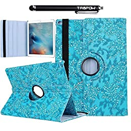 iPad Pro Case, TabPow [360 Rotating][Flip][Smart Case] Turquoise Grapevine PU Leather Flip Case [Magnetic Closure] Smart Cover With Stand [Auto Sleep/Wake] For iPad Pro / iPad 6th Gen (2015 Edition)