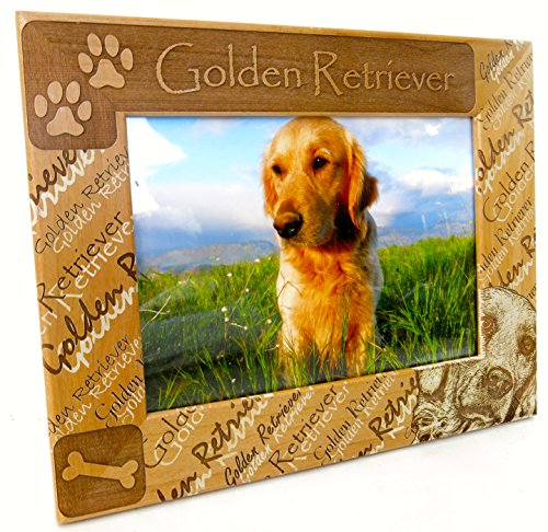 Golden Retriever, Dog Breed, Mothers Day Gift, Rich Alderwood, Beautiful Laser Cut Design, Photo Insert Size 5x7 Insert, Over All Frame Size Is 7 1/2 X 9 1/2