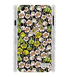 Yellow White Floral Soft Silicon Rubberized Back Case Cover for Intex Aqua Y2 Ultra