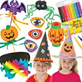 Everything you need for dressing up this Halloween! Save 35 % when bought in pack. Includes 3 coloured witch & wizard hats, 4 pumpkin lantern kits, 15 colour-in eye patches, 6 Halloween scratch art masks, 4 Halloween wand kits, 4 dangling spider pom pom