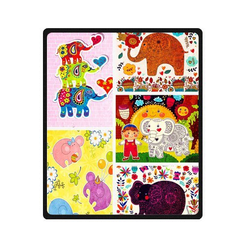 "Bright Seamless Pattern With Elephants Custom Blanket 50""X 60""(Medium) front-781718"