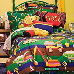 6 Piece Kids Construction Comforter Set Twin, Fun Bulldozer Dump Trucks Excavator Road Building Tools Road Signs Pattern with Sheet Set, Reversible Bed in a Bag