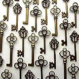 Aokbean Mixed Set of 30 Vintage Skeleton Keys in Antique Bronze - Set of 30 Keys