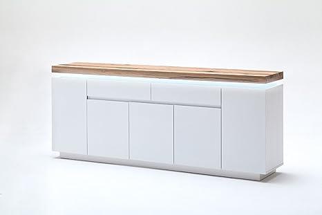 Kommode, Sideboard mit Schubladen + LED, matt weiß, Ast- Eiche Massivholz