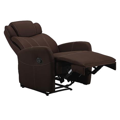 Fernsehsessel Mirkofaser braun mit weißer Naht von MACO - Relaxsessel TV Sessel
