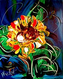 sunflwers Superb Pop Art Urban Painting on Canvas - Original Modern Abstract Impressionist Art Deco -- Signed with Certificate of Authenticity-size 24x20 Canvas- Stretched - Gallery Wrap - Ready to Hang