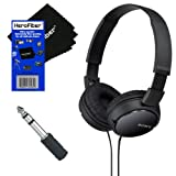 Sony MDRZX110 ZX Series Stereo Headphones (Black) with 3.5mm Mini Plug to 1/4 inch Headphone Adapter & HeroFiber® Ultra Gentle Cleaning Cloth (Color: black)