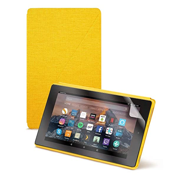 Fire HD 8 Tablet (8 HD Display, 16 GB) - Yellow + Amazon Fire HD 8 Tablet Case, Canary Yellow + NuPro Clear Screen Protector (2-Pack) (Color: Canary Yellow)