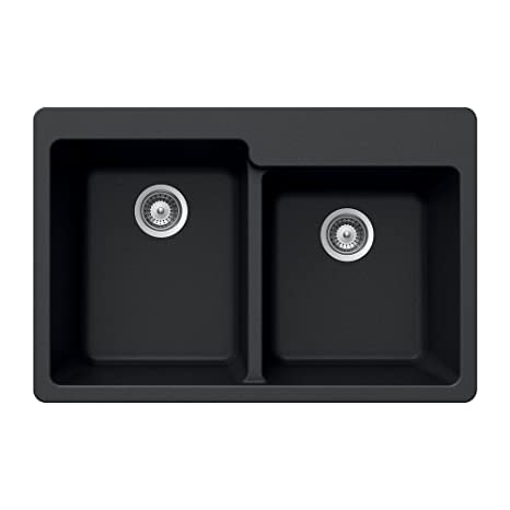 Houzer MADISON N-175 NERO Schock-Houzer Madison Series N-175 Topmount 60/40 Double Bowl Kitchen Sink, Nero