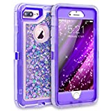 Dexnor zting67 iPhone 7 Plus Case, Glitter 3D Bling Sparkle Flowing Liquid Case Transparent 3 in 1 Shockproof TPU Silicone Core + PC Frame Cover for iPhone 7 Plus/6s Plus/6 Plus - Purple