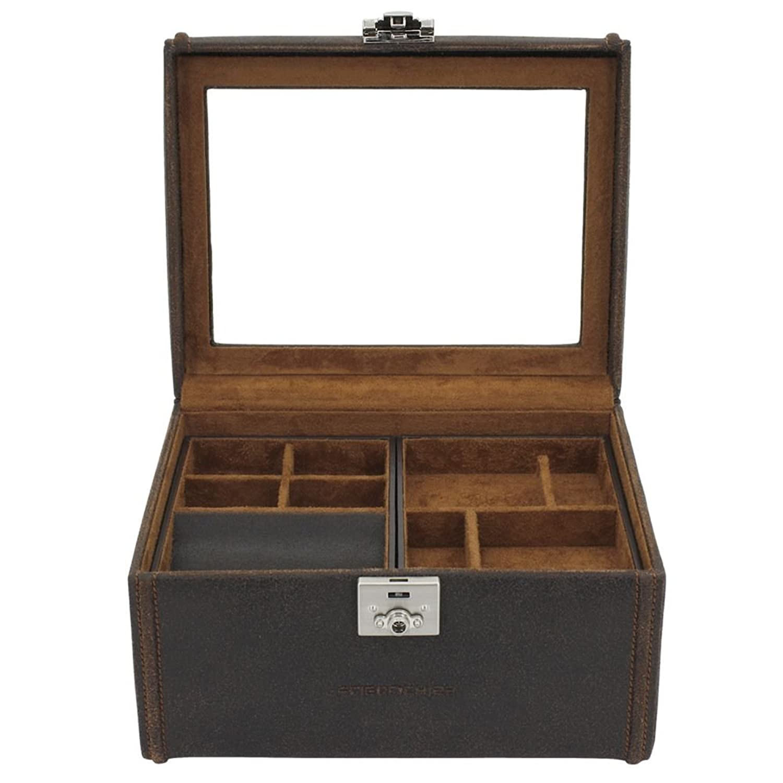 Schmuckaufbewahrung Uhren – und Schmuckkasten , Antikleder , braun , für 8 Uhren , 2 herausnehmbare Einsätze , ca. 14 x 24 x 19 cm bestellen