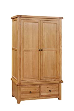 Elegan Oak Shanklin Double Wardrobe With Drawers, Wood, Light Brown