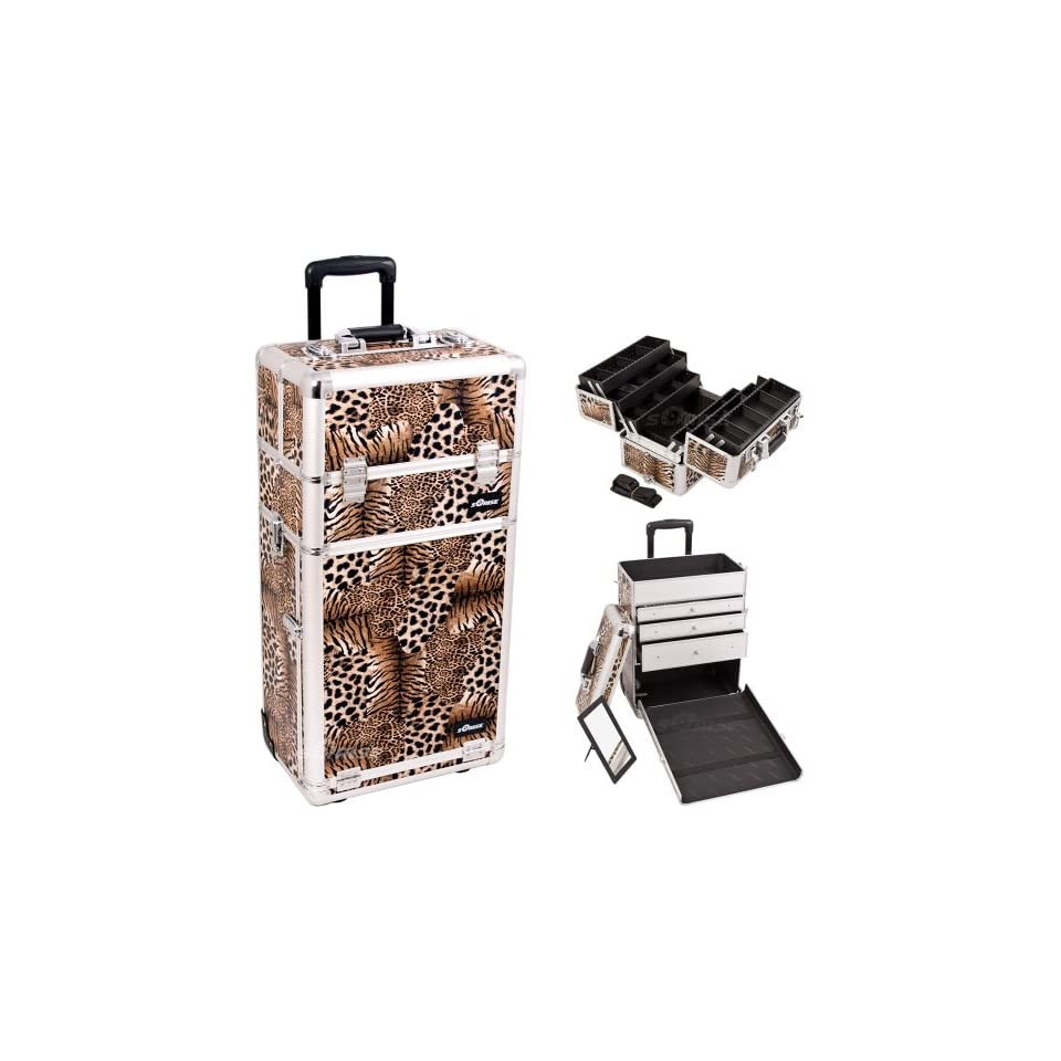 30.5 inch Leopard Print Silver Aluminum Finish Professional 2 in 1 Rolling Wheeled Makeup Train Case Cosmetics Organizer w/ 3 Drawers + 6 Extendable Trays