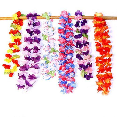 Dazzling Toys Hawaiian Ruffled Simulated Silk Flower Leis- Pack of 12 (D124)