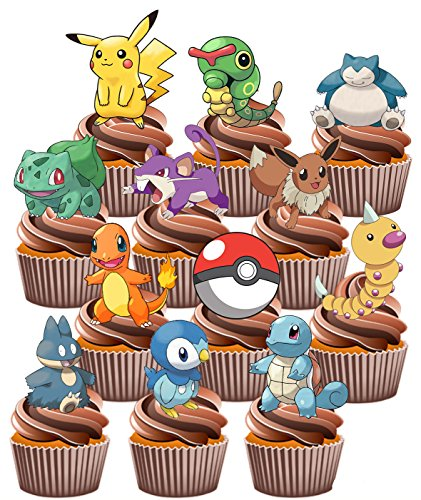 Pokemon Go Themed - Fun Fully Edible Boys Girls Birthday Party Cup Cake Toppers (48)