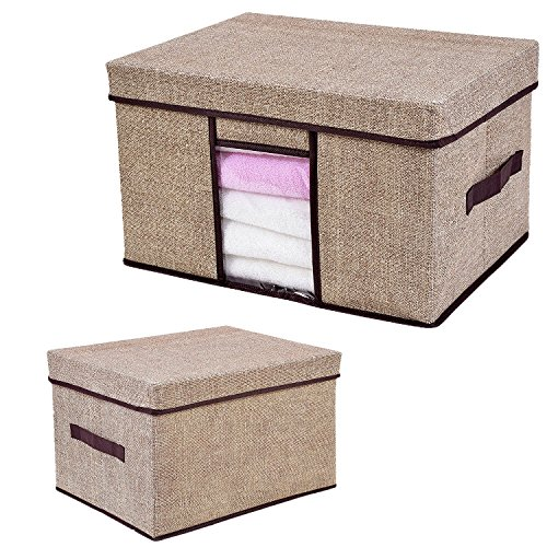 Storage Box, Pretid Foldable Storage Cubes Basket Bin, Linen Style with Lid