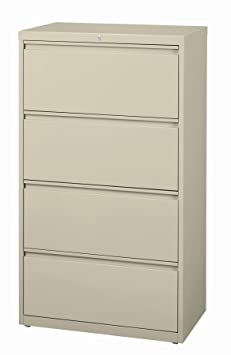 Office Dimensions Commercial 4-Drawer Lateral File with Full Width Pull, 30-Inch Wide, Putty