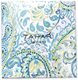 Tahari Luxury Cotton Blend Shower Curtain Turquoise Aqua Gray Green Grey Damask Paisley Design, Boteh Pattern