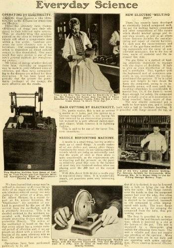 1921 Article Science Electricity Needle Machine Melting Pot Battery Drugs Hair - Original Print Article