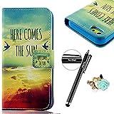 Nextmall iPhone5C対応ケース 手帳型 PUレザー 保護キャップ+タッチペン付 空柄 生き生き 個性 独特 横開き カードケース付 スタンド付 キズや汚れを防ぎ