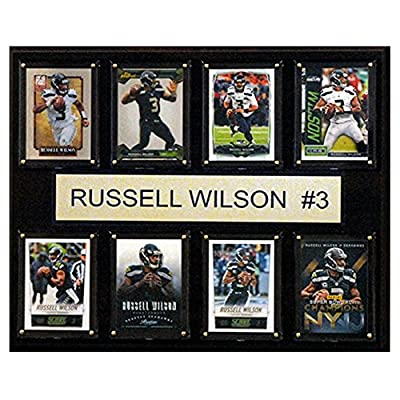 C and I Collectables NFL 15W x 12H in. Russell Wilson Seattle Seahawks 8 Card Plaque