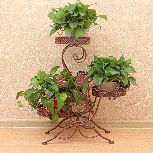 A 3 piani, in metallo, decorazione da giardino per piante in vaso da fiori, supporto per 3-Vaso da fiori, colore: bronzo