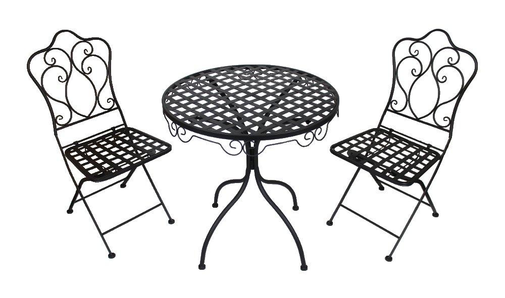 Metall Gartenmöbel schwarz / anthrazit Set – Tisch und 2 Stühle günstig online kaufen