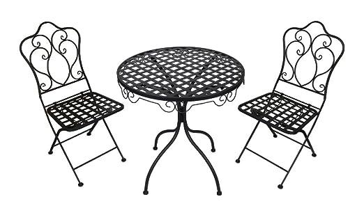 Metall Gartenmöbel schwarz / anthrazit Set - Tisch und 2 Stuhle