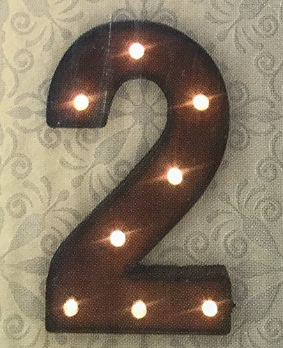 Metal Vintage-Look Rust Marquee LED Lighted Number Two (Led Numbers compare prices)